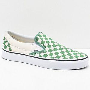 Vans Slip-On Green & White Checkerboard Skate Shoe
